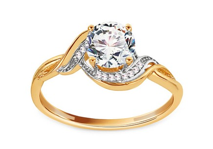 Gold Engagement Ring with Zircons Meghan