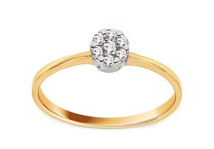 Gold engagement ring Princess 17 with Cubic Zirconia