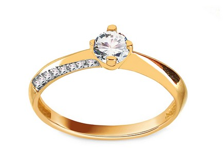 Gold Engagement Ring with Zircons Robina