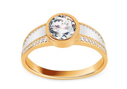 Gold Engagement Ring with Zircons Tallys