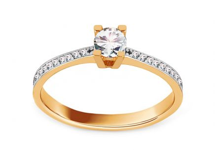 Gold Engagement Ring with Zircons Thalia