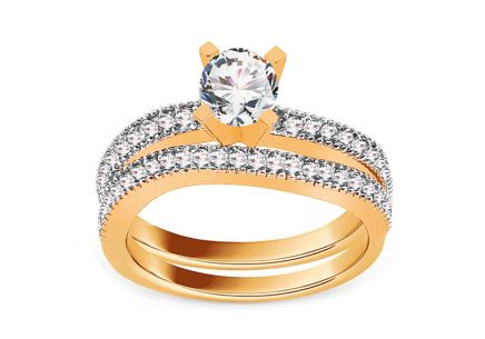 Golden Engagement Set with Zircons