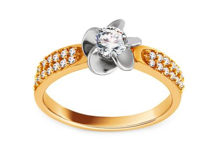 "Two-Tone Engagement Ring with Zircons ""Isarel 15"""