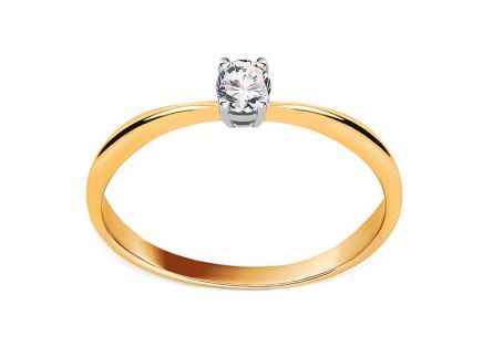 Two-Tone Gold Engagement Ring with Zircon