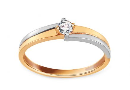 Two Tone Gold Engagement Ring with Zircon Dallya