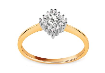 Gold engagement ring with Diane zircons