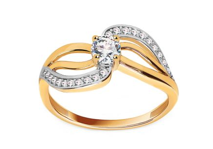 "Two-Tone Gold Engagement Ring with Zircons ""Marra"""
