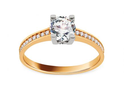 Two Tone Gold Engagement Ring with Zircons Sellia