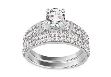 Sparkling White Gold Engagement Set with Zircons
