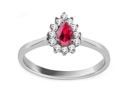 White Gold Engagement Ring with Pink Zircon Clove