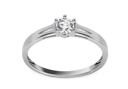 White Gold Engagement Ring with Zircon