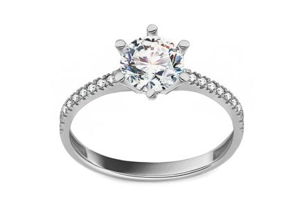 White Gold Engagement Ring with Zircon  Cyrea
