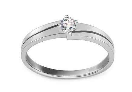 White Gold Engagement Ring with Zircon Dallya