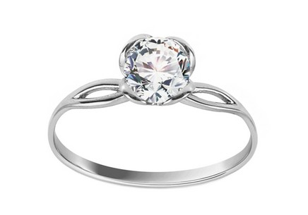 White Gold Engagement Ring with Zircon Diane 1