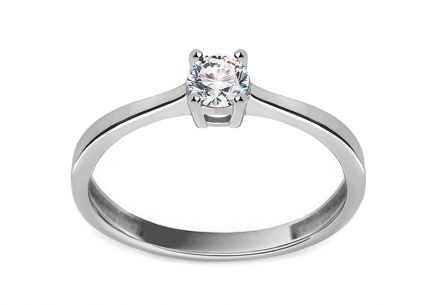 White Gold Engagement Ring with Zircon Dyanne