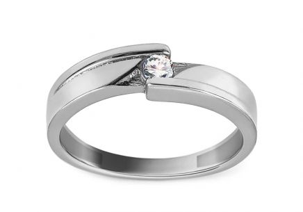 White Gold Engagement Ring with Zircon Fantina