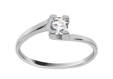 White Gold Engagement Ring with Zircon Grace 3