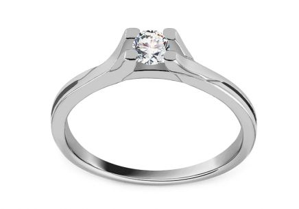 "White Gold Engagement Ring with Zircon ""Grace 5"""
