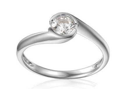 White Gold Engagement Ring with Zircon Mariyah