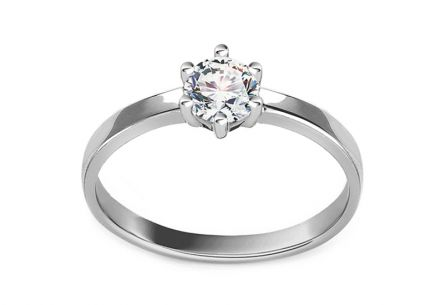 White Gold Engagement Ring with Zircon Rosella 2