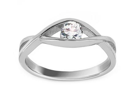 White Gold Engagement Ring with Zircon Wateka