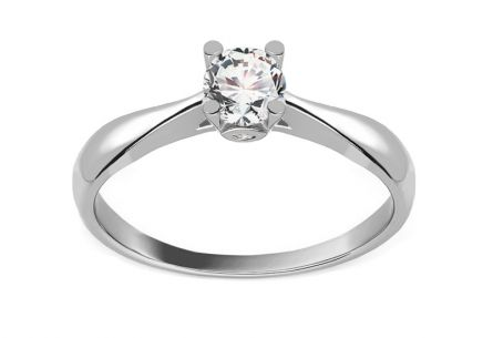 White Gold Engagement Ring with Zircons