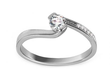 White Gold Engagement Ring with Zircons Fianna