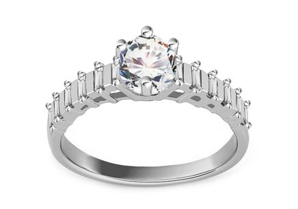 "White Gold Engagement Ring with Zircons ""Isarel 11"""