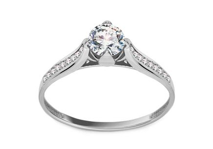 "White Gold Engagement Ring with Zircons ""Jelena"""