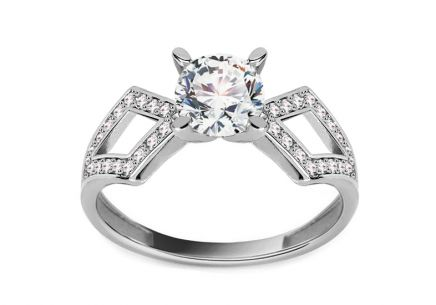 "White Gold Engagement Ring with Zircons ""Lailah"""