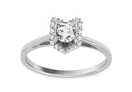 "White Gold Engagement Ring with Zircons ""Magic 9"""