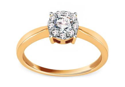 Brilliant and Gold Engagement Ring 0.390 ct