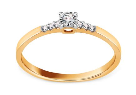 Brilliant engagement ring made of combined gold 0.080 ct