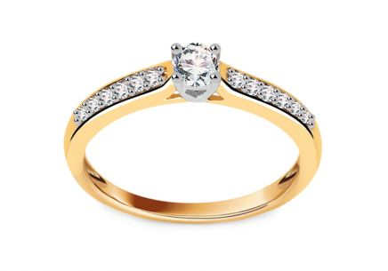 Combined Gold Engagement Ring with Brilliants 0.340 ct