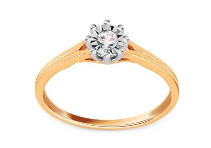 Combined Gold Engagement Ring with Diamond 0.050 ct