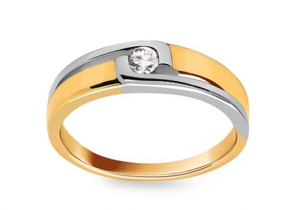 Combined Gold Engagement Ring with Diamond 0.080 ct Rashida