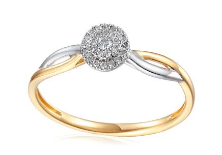 Combined Gold Engagement Ring with Diamonds 0.060 ct Dinah