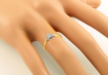 Combined Gold Engagement Ring with Diamonds 0.080 ct Denja