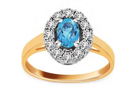 Combined Gold Engagement Ring with Topaz and Diamonds 0.050 ct Caliana 3