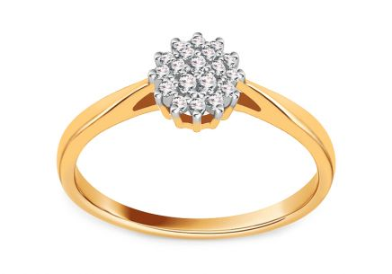 Two tone gold Diamond Engagement Ring 0.120 ct