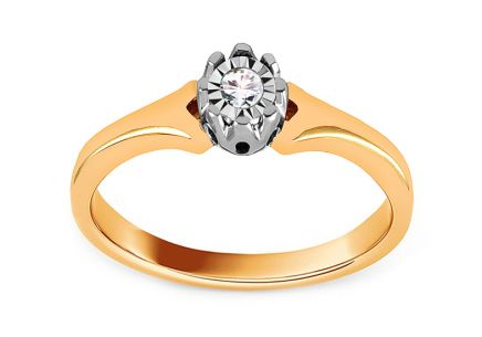 Diamond Engagement Ring from Combined Gold 0.090 ct