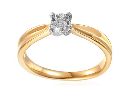 Diamond Engagement Ring from Combined Gold 0.100 ct