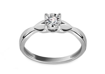Diamond engagement ring made of white gold 0.050 ct