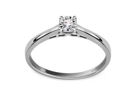 Diamond engagement ring made of white gold 0.060 ct