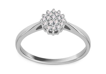 White Gold Diamond engagement ring 0.120 ct