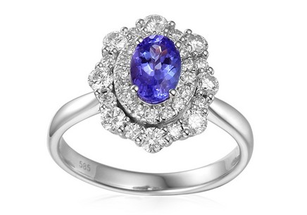 Diamond Engagement Ring with Tanzanite Rive