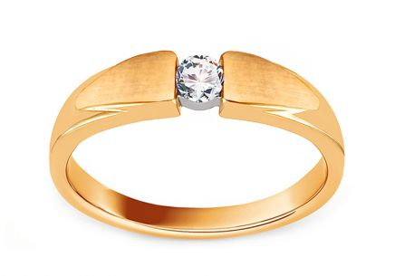 Diamond Gold Engagement Ring with Matte Finish 0.110 ct