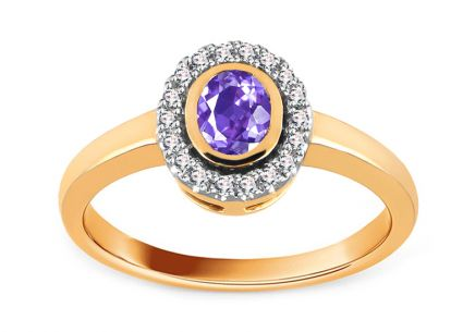 Diamond Ring 0.090 ct with Tanzanite Flame of Love