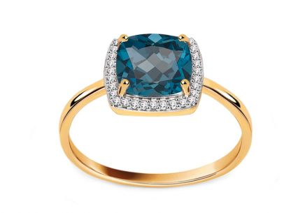 Diamond ring with London Blue topaz 0.090 ct