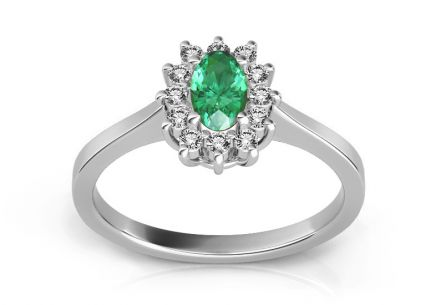 Emerald Ring with 0,100 ct Diamonds Follow Emotion